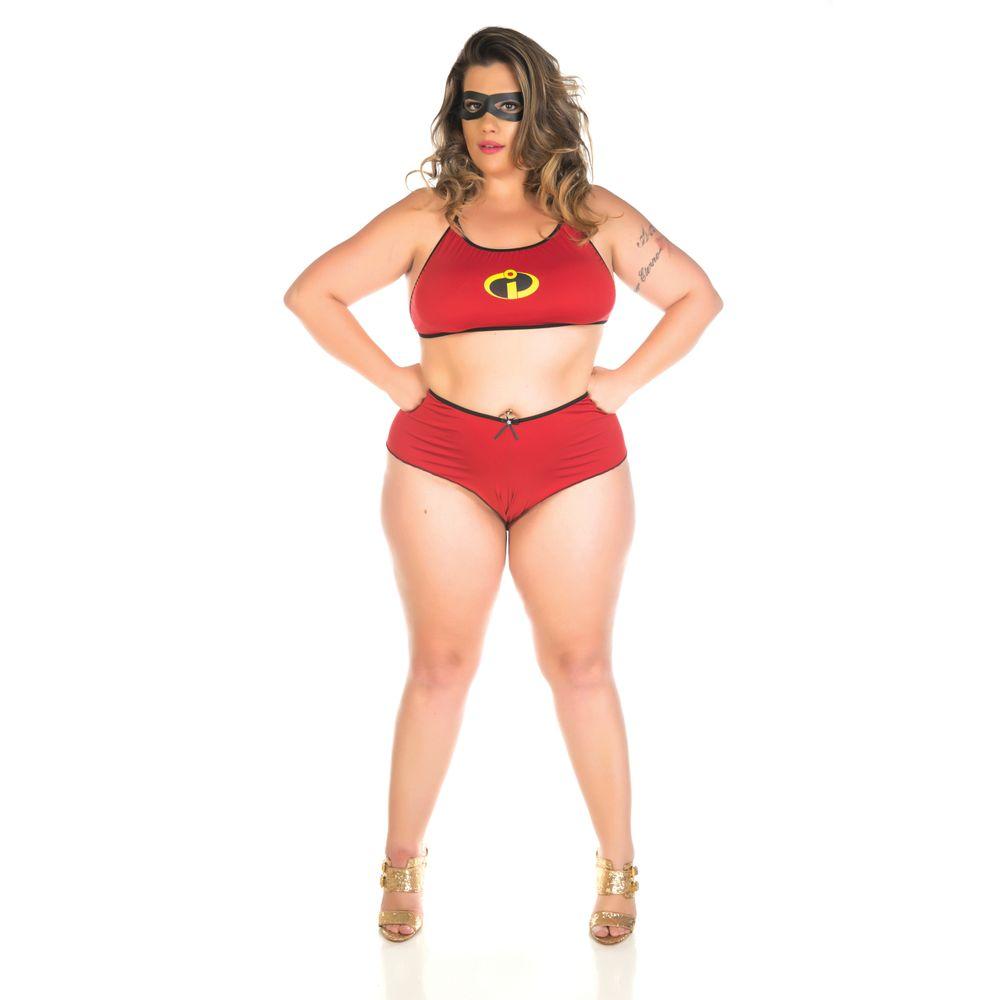 Mini Fantasia Plus Size Mulher Incrível Pimenta Sexy