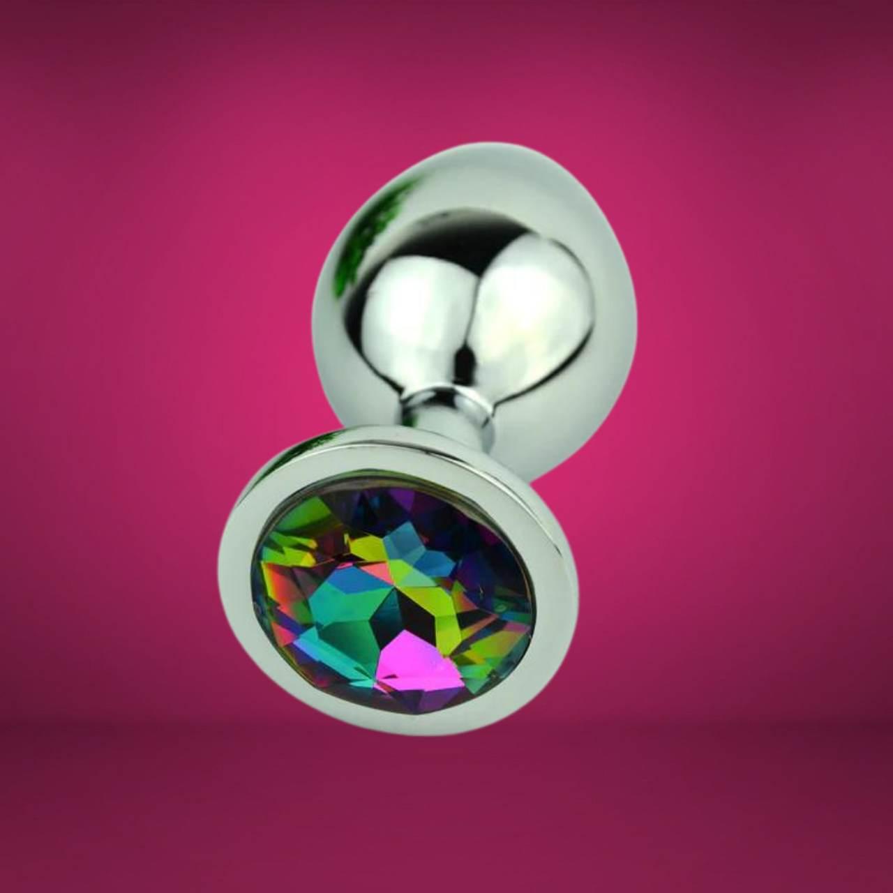 Plug Jóia Arco-Íris em Metal Cromado Médio Importado