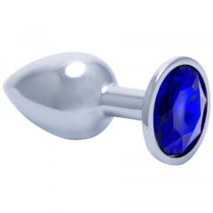 Plug Jóia Azul Safira em Metal Cromado Pequeno Importado
