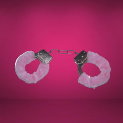 Algema em Metal Simples Pelúcia Rosa Importada