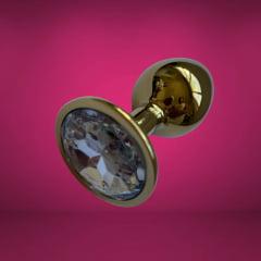 Plug Anal Dourado Jóia Branca Diamante Pequeno